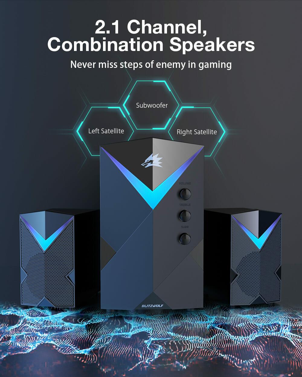 BlitzWolf® BW-GT2 hangrendszer 2.1 csatorna bal hangszóró, mélynyomó és jobb hangszóró