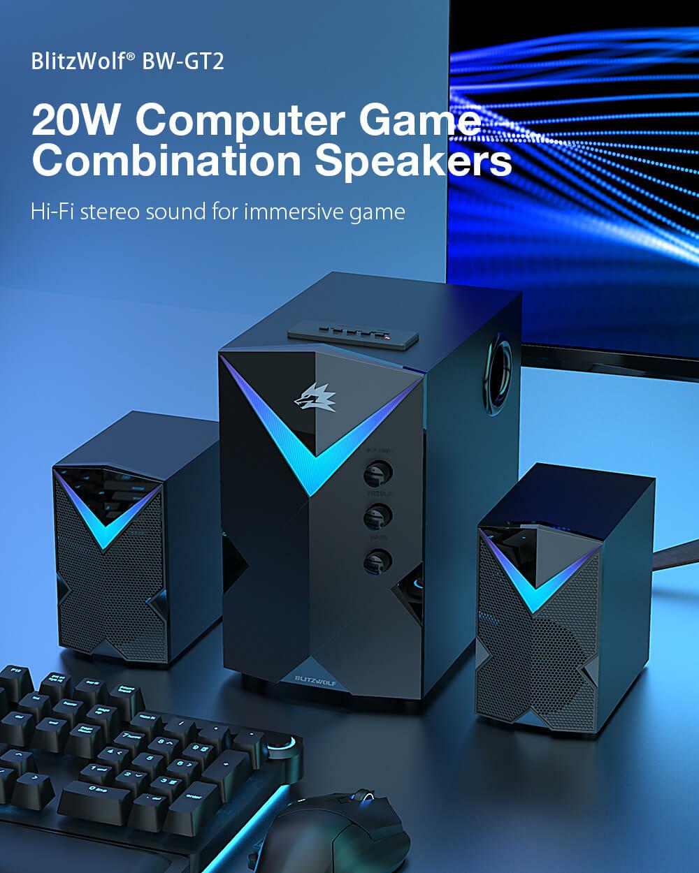 BlitzWolf® BW-GT2 hangrendszer 20 W teljesítmény Hi-Fi sztereó hangzás számítógép asztalon