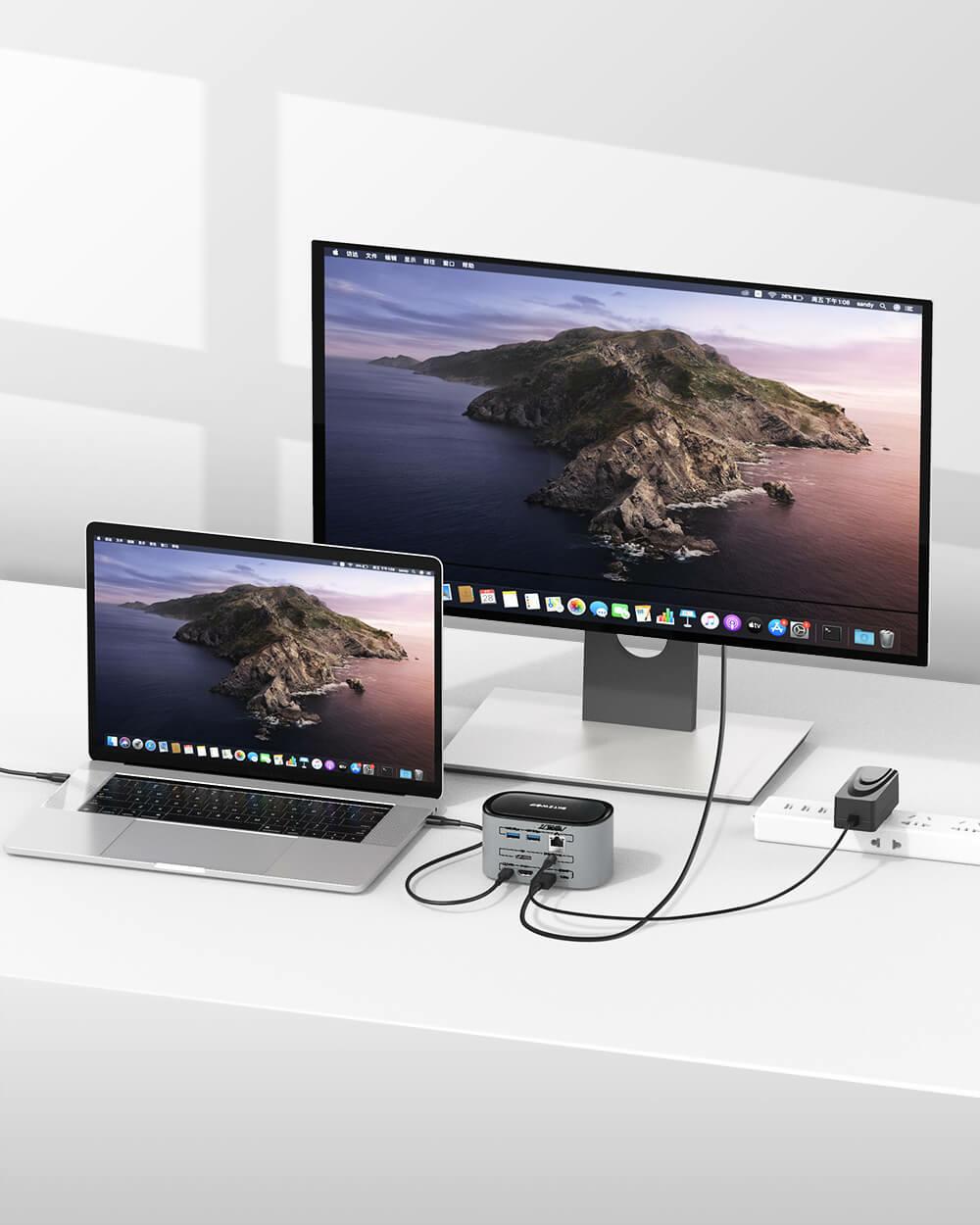 BlitzWolf® BW-TH1214 az egyben dokkoló Mac rendszerrel összekötve haszbálat közben
