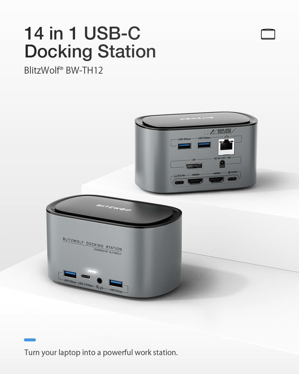 BlitzWolf® BW-TH1214 az egyben USB-C dokkoló