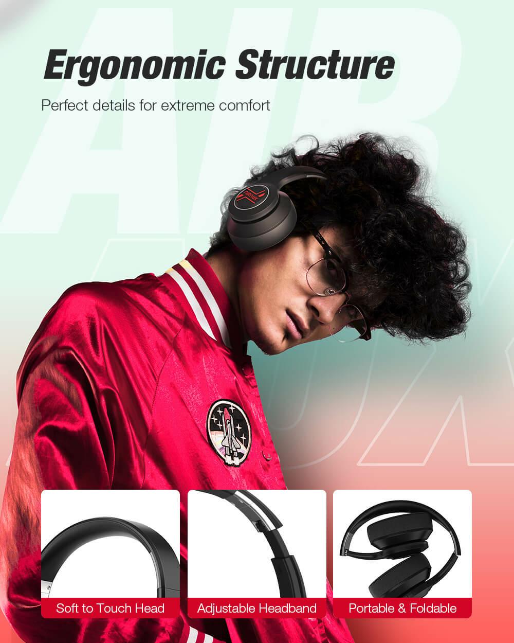 BlitzWolf® AirAux AA-ER3 Bluetooth 5.0 fejhallgató ergonomikus kialakítás