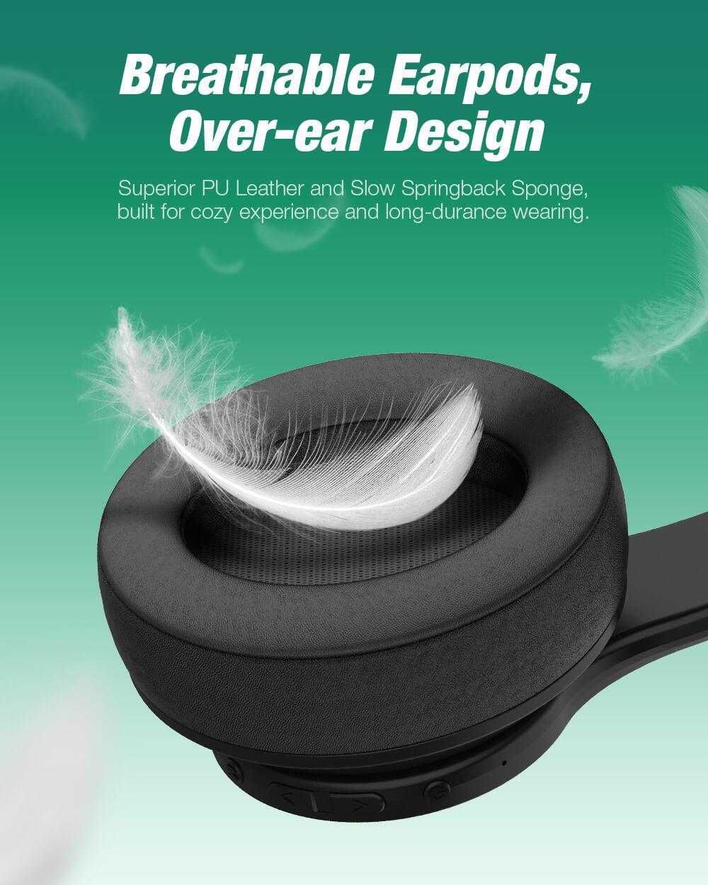 BlitzWolf® AirAux AA-ER3 Bluetooth 5.0 fejhallgató over-ear kialakítás