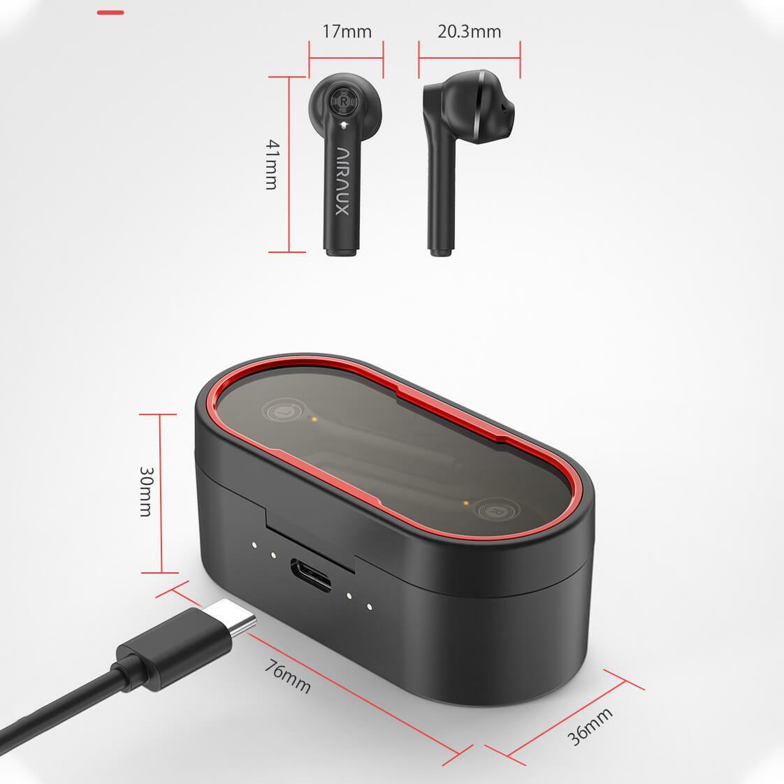 AA-UM7 vezeték nélküli fülhallgató és töltődoboz méretek