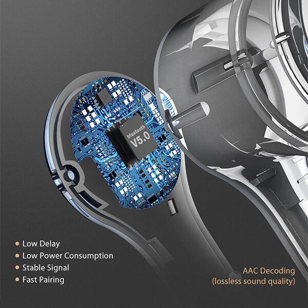 bw-fye9 bluetooth 5.0 technológiával qualcomm qcc3020 chippel alacsony késleltetéssel aac hangminőséggel