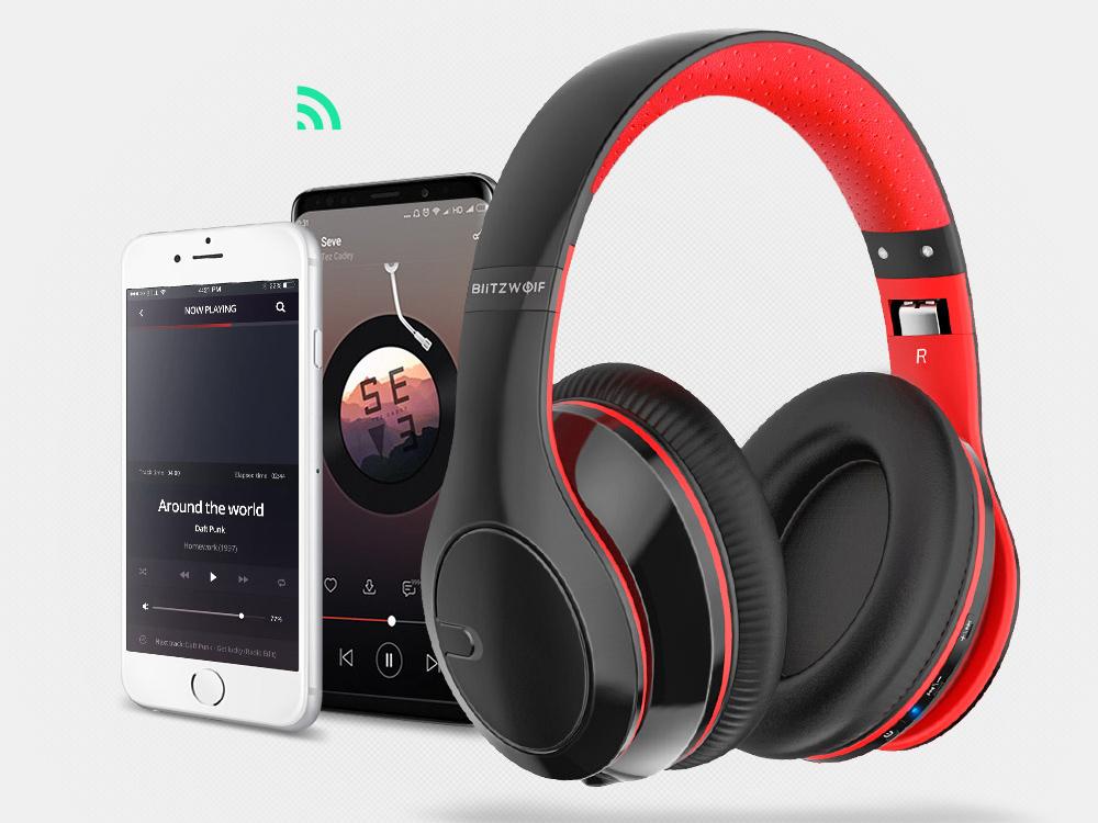 BlitzWolf® BW-HP1: vezeték nélküli Bluetooth fejhallgató beépített mikrofonnal Bluetooth 4.1