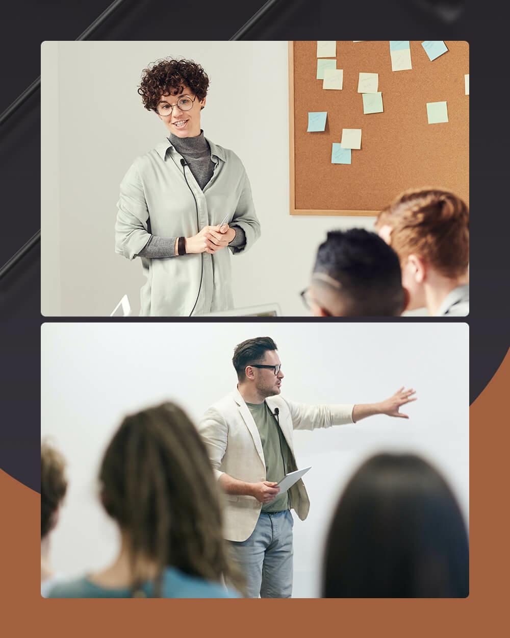 Nő tanítás közben és férfi előadás közben BlitzWolf® CM1 univerzális Lavalier csíptetős mikrofont használva