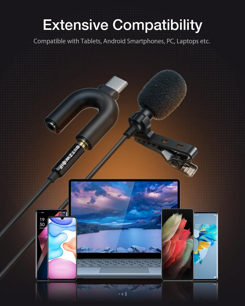 BlitzWolf® CM1 univerzális Lavalier csíptetős mikrofon Jack csatlakozóval Type-C átalakítóval okostelefonok és laptop társaságában