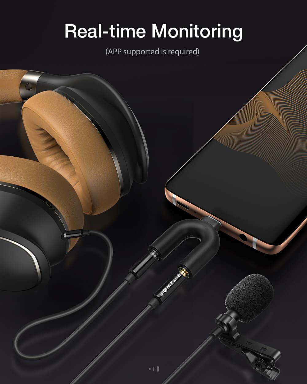 BlitzWolf® CM1 univerzális Lavalier csíptetős mikrofon fejhallgatókoz csatlakoztatva