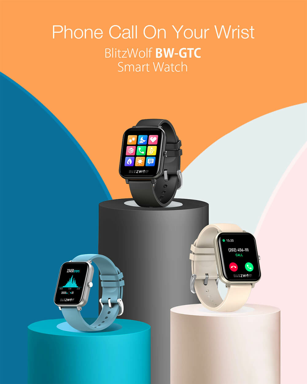 BlitzWolf® BW-GTC érintőkijelzős aktivitásmérő okosórák