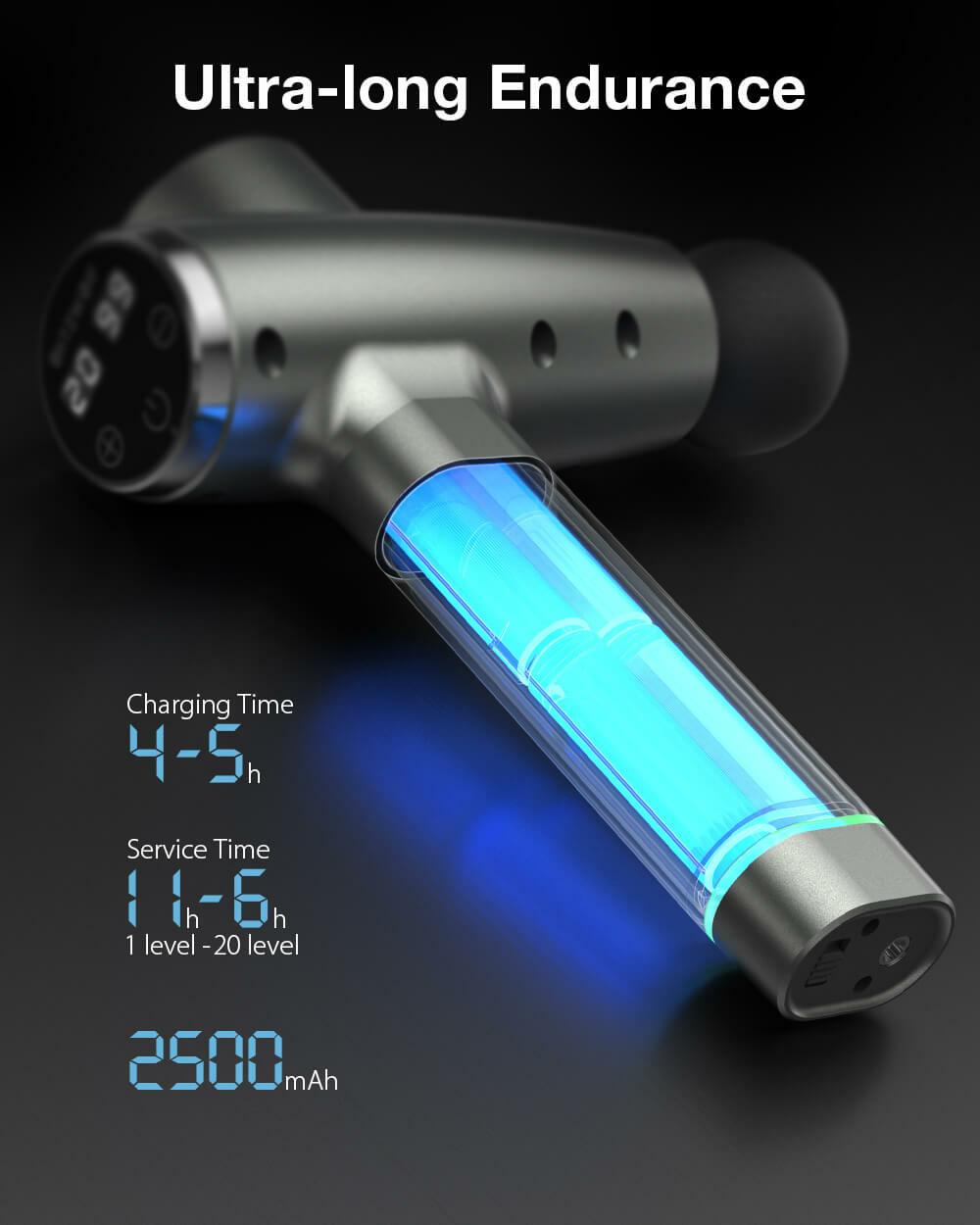 BlitzWolf® BW-FAS2 elektromos masszázspisztoly masszív üzemidő akár 11 óra használat