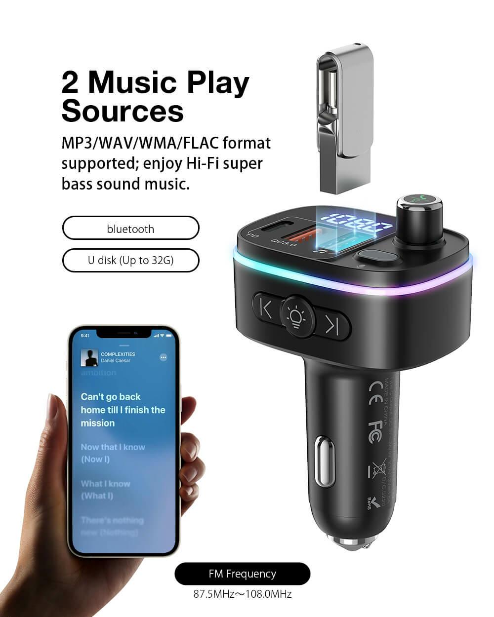 BlitzWolf® BW-BC2BluetoothFM transmitter autós töltő MP3 WAV WMA és FLAC támogatással