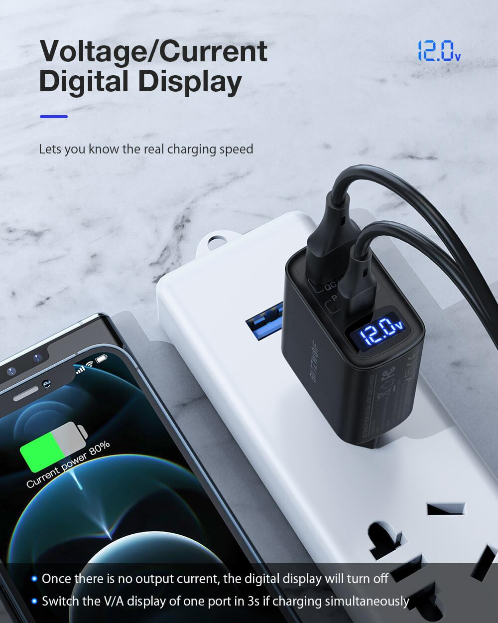 BlitzWolf® BW-S19: 20W-os töltő adapter dupla töltő porttal 20W PD gyorstöltés
