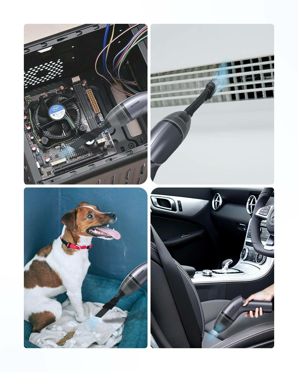 BlitzWolf® BW-AD1 mini porszívó számítógépház, klíma berendezés, autó belső és állati fekhelyek takarításához is