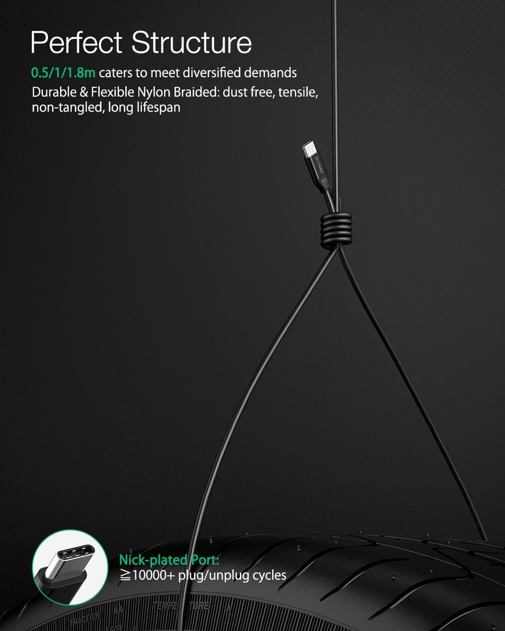 BlitzWolf® BW-HDC3 USB3.1 Gen2 USB C - USB C kábel tartós és rugalmas