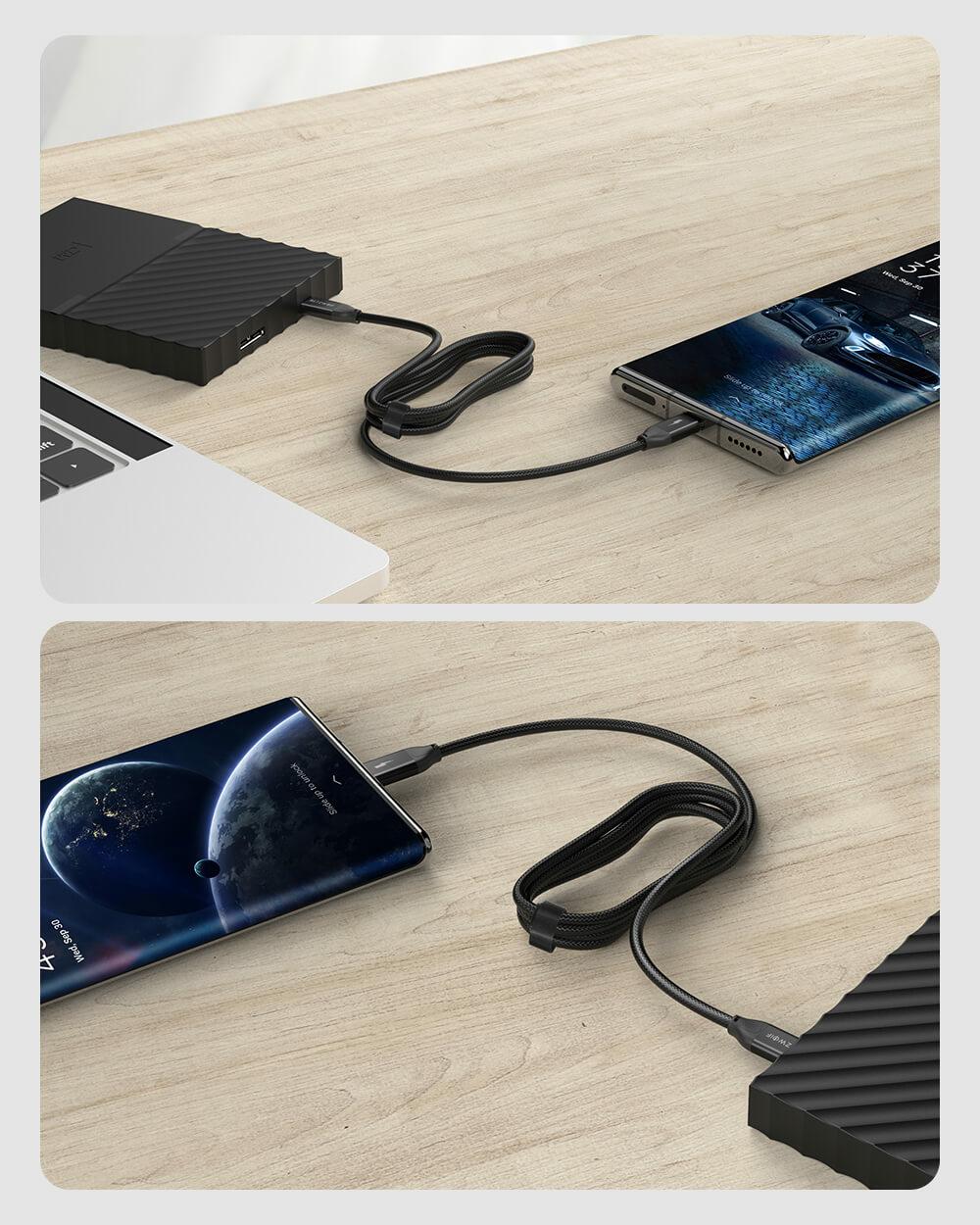 BlitzWolf® BW-HDC3 USB3.1 Gen2 USB C - USB C kábel töltés közben