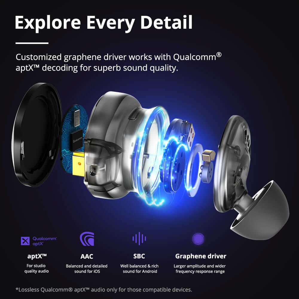 Stúdióminőségú audio élmény az aptX™ technológiával és a grafén meghajtókkal