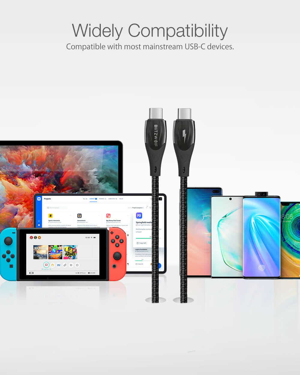 BlitzWolf® BW-FC1: Type-C - Type-C USB kábel, 100W, 5A - 1.8m a legtöbb USB-C eszközzel kompatibilis