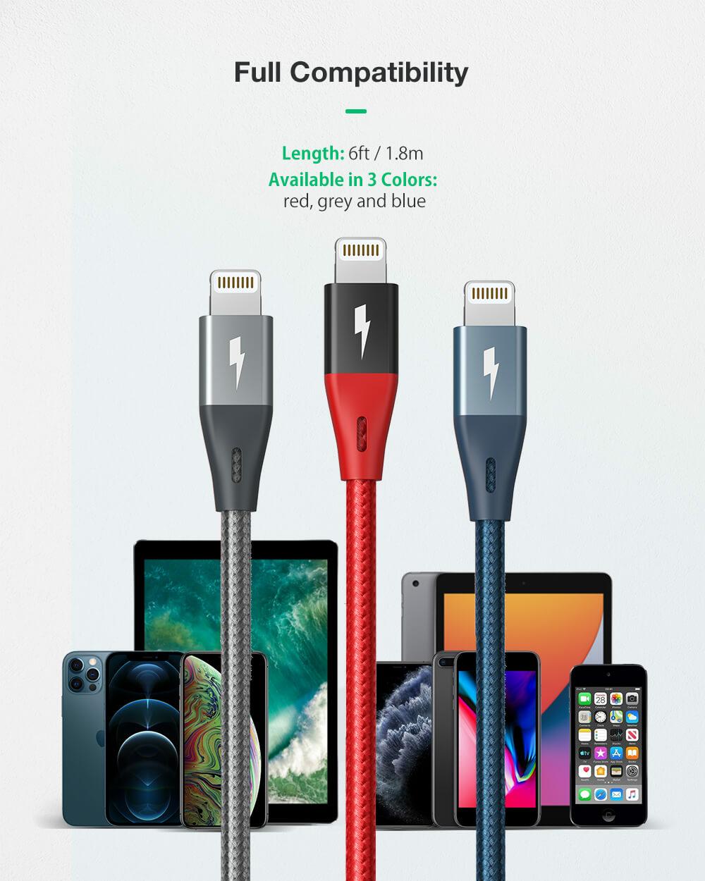 BlitzWolf® BW-MF10 Pro: MFi certified Lightning - USB töltő- és adatkábel teljes Apple kompatibilitás