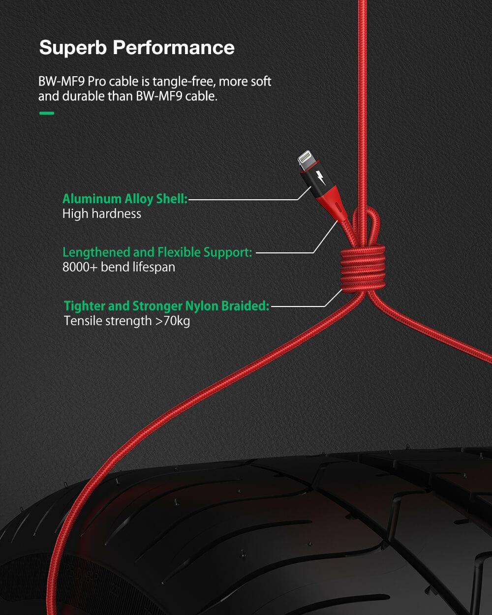 BlitzWolf® BW-MF9 Pro: MFi certified Lightning - USB töltő- és adatkábel rugalmas és tartós