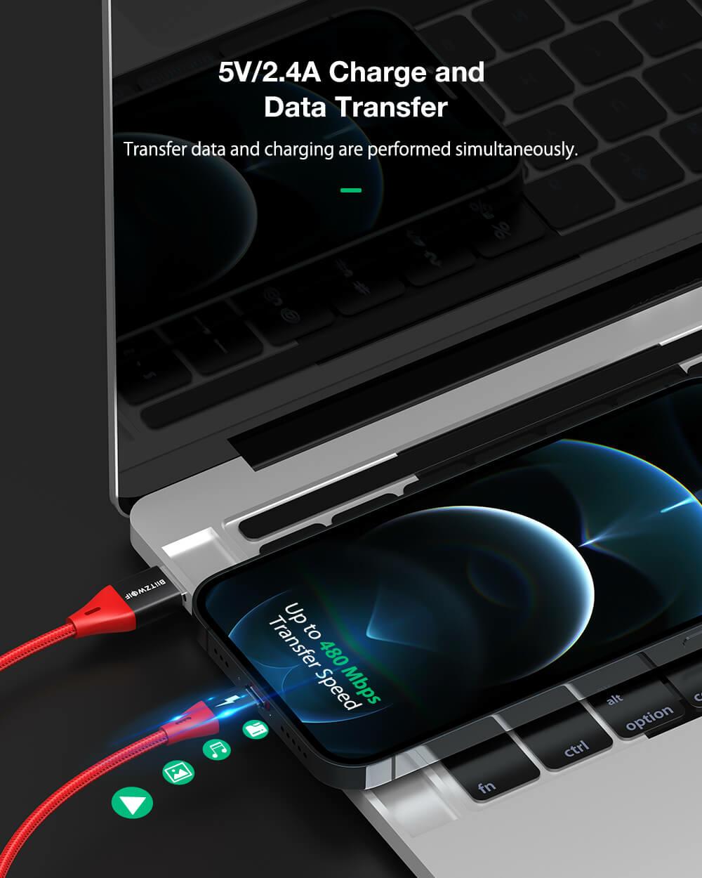BlitzWolf® BW-MF9 Pro: MFi certified Lightning - USB töltő- és adatkábel töltés és adatátvitel egyidőben